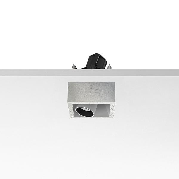 Flos Architectural Johnny 80 Semi-Recessed 1L Vierkant AN 03.0763.CE Wit / Beton