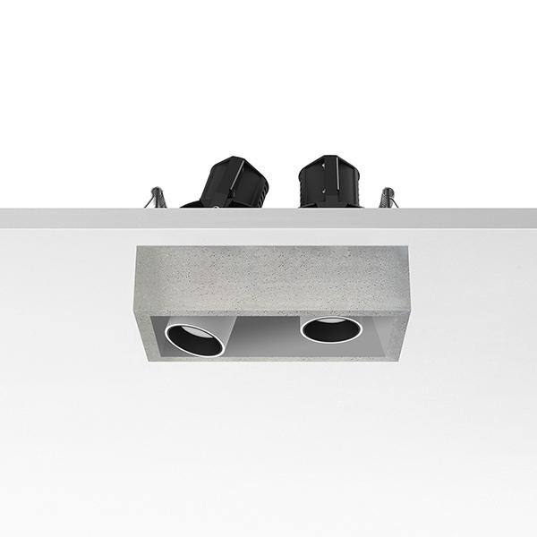 Flos Architectural Johnny 80 Semi-Recessed 2L Leds Vierkant AN 03.0772.CE Wit / Beton