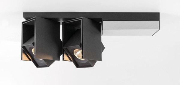 Modular Lighting Rektor 2x LED Tre Dim GI MO 14246062 Noir structuré / Aluminium brossé